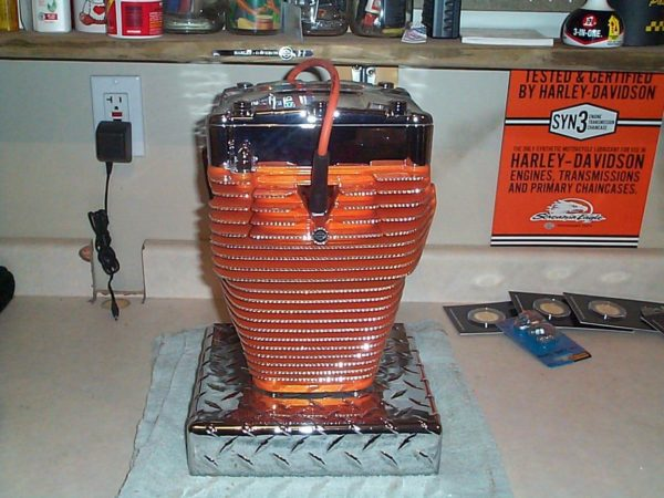 Powder coating urn made of motorcycle parts
